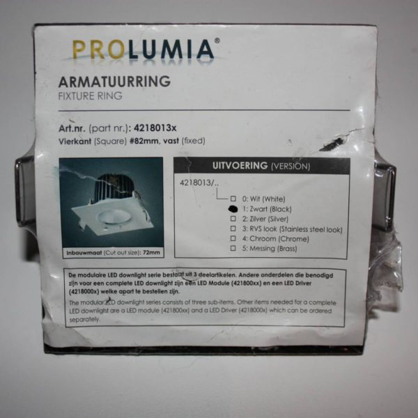 Prolumia Armatuurring zwart 82mm vast vierkant-0