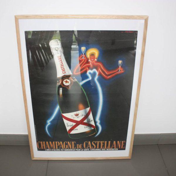 Champagne de Castellane affiche in licht eiken kader 70x50cm-0