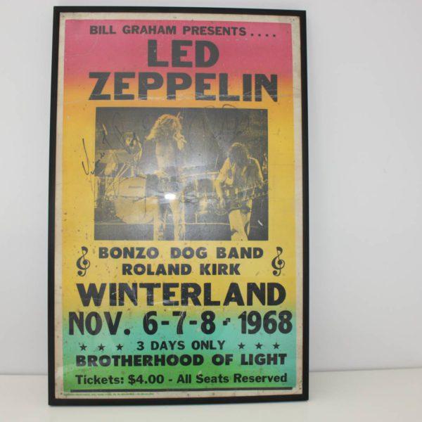 Concertaffiche Led Zeppelin Winterland 1968 met handtekeningen Robert Plant & Jimmy Page-0